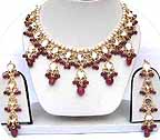 Gold Ruby and Diamond Bridal Jewellery Set with Earrings JVS-01