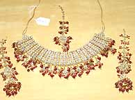 Gold Ruby and Diamond Bridal Jewellery Set lv018