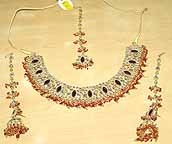 Gold Ruby and Diamond Bridal Jewellery Set lv019
