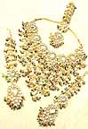 Gold Diamond Bridal Jewelry Set with Earings and Forehead Piece lvbb-4
