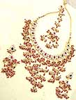 Gold Diamond Bridal Jewelry Set with Earings and Forehead Piece lvbb-5