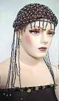 Belly Dancer Cap Black Beads with Grey Beads