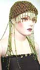 Belly Dancer Cap Lime Green Beads with Gold Beads