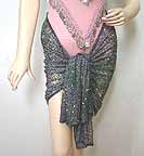 Chiffon Beaded Hip Scarf B with Sequins
