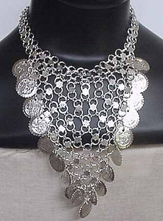 Silver Coin Necklace Belly Dancer Costume ref C