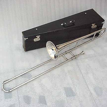 new silver slide trombone with mouthpiece case