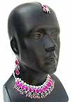 Wedding Necklace with Earrings set Magenta Beads 1A