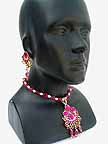 Necklace with Earrings set Magenta Beads 1J