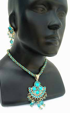 Necklace with Earrings set Turqoise 1L