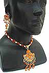 Necklace with Earrings set Orange Beads 1M
