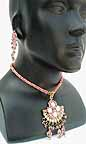 Necklace with Earrings set Pink Beads 1N