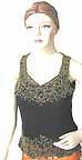 Black Net Top with Gold Beads and Sequined Embroidery